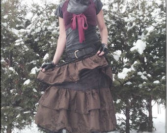 Skirt - Steampunk - Victorian - Burning Man - Gypsy - Tiered Skirt  - Tango - Overskirt - Petticoat - Bohemian - Taffeta - Size X- Large