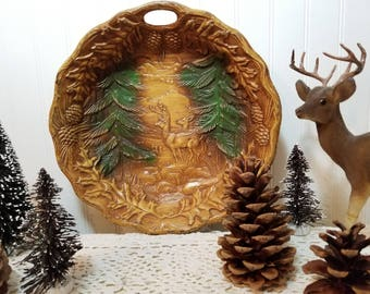 vintage Deer Bowl, Syroco Wood, Mid Century. Dimensional woodland forest scene. Faux Bois effect. Round bowl with handle. Cabin, lodge decor