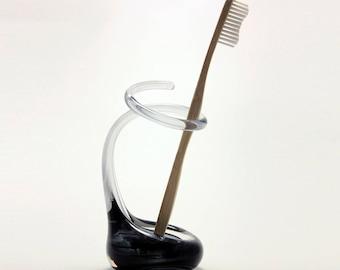 Smoky Grey Glass Toothbrush Holder