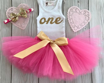 Tutu Dress | Birthday Tutu | Baby Tutu Skirt | Hot Pink Birthday Tutu | Strawberrie Rose | Pink and Gold 1st Birthday Tutu
