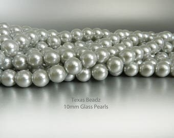 10mm Silver Gray Pearls Grey Loose Pearl Beads Gray Pearls 10 mm Beads Faux Pearls