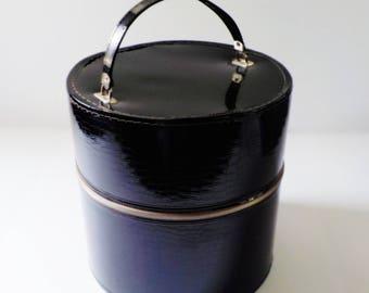 Vintage Wig Hat Box Faux Alligator • Black Patent Leather Wig Case • 1960s Black Wig Carrying Case