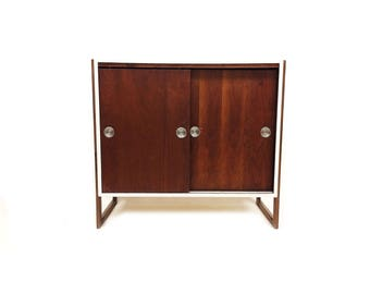 Vintage Modern Cabinet In White and Wood