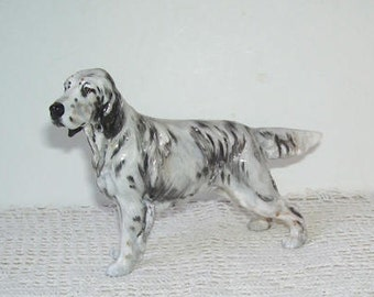 Royal Doulton English Setter No.1051 HN is named after Harry Nixon (1886-1955), , Black and White Male English Setter Dog