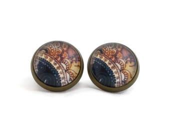 Henna Earrings, Henna Tattoo Jewelry, Indian Jewelry, Indian Tattoo, Mehendi Jewelry, Brown Black, Bronze Earrings, Bohemian Earrings