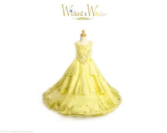 Belle Costume Adult New Beauty and the Beast - 2017 Belle Costume for Women,  Emma Watson Belle dress for Prom Dress, Halloween cosplay
