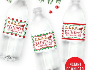 INSTANT DOWNLOAD Reindeer Refreshments Christmas Water Bottle Labels - DIY Printable Christmas Water Labels