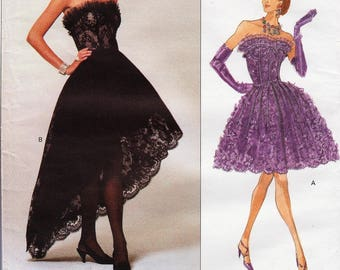 Vogue 2877 / Vintage Designer Sewing Pattern By Victor Costa / Strapless Evening Gown / Cocktail Dress / Sizes 12 14 16