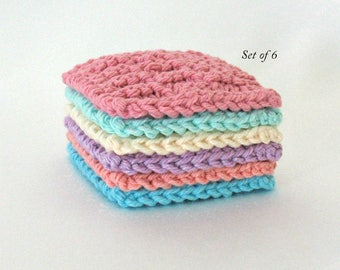 Face Scrubbies, Cotton Face Pads, Facial Cleaning Pads, Facial Scrubbies, Set of 6 Pastel Rainbow colors