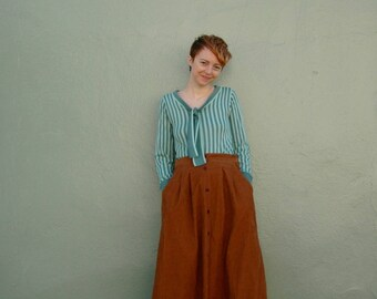Brown Corduroy Skirt... Corduroy Skirt... 70s Corduroy Skirt... Boho Skirt... Maxi Skirt... Long Skirt... Winter Skirt