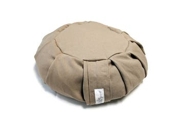 Meditation Cushion Zafu made with Organic Hemp Fabric and Buckwheat Hulls- Flax
