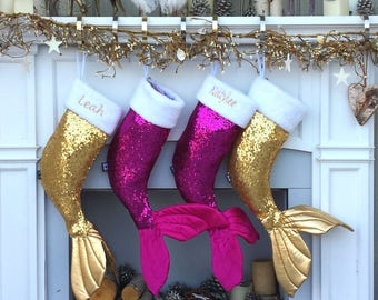 Mermaid Tail Sequin Bling Christmas Stocking Bling for Girls or Fun Ladies - Gold - Hot Pink - Silver Mermaid Christmas Decor Mermaid Purple