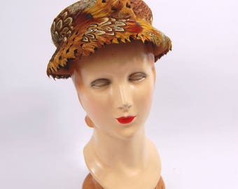 1950s Pheasant Feather Hat / Marshall Field and Company // Mid 1950s - Late 50s // Gold and Brown feathered hat Small Brim Bucket Shape