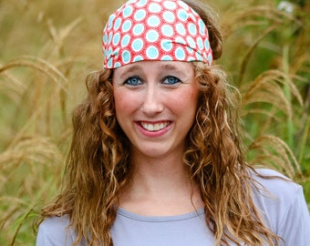 Red & Turquoise Retro Headband, Women's Classic Headwrap, Vintage Look Headscarf, Retro Head Wrap, Polkadot Headband (#4320) S M L X