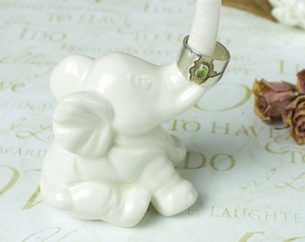 Elephant ring holder Be Lucky Elephant white jewelry Ceramic Ring Holder handmade pottery Elephant Decor unique gift for her under 25