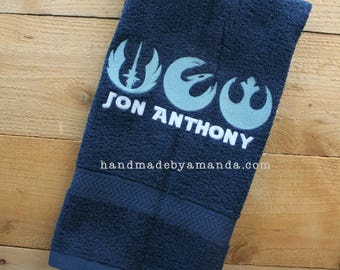 Star Wars Jedi Symbols hand towel + First Name - Great gift for Young Jedi