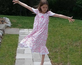 NIGHTGOWN-Size 6-Girls //100% Cotton-Knit //Pink Cherry Blossoms-Full Length, Eyelet Trim//Ready to Ship //Visit shop--other available sizes