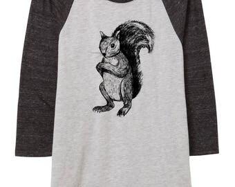 Womens squirrel baseball shirt - 3/4 sleeve - clothing -fashion -black and white - illustration -animals - nature