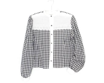 Gingham Blouse * Vintage 80s Shirt * Eyelet Embroidered Blouse * Large