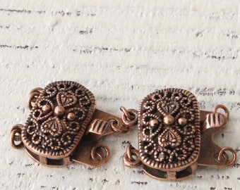 Copper Clasp - Copper Findings - Filigree Bracelet or Necklace Clasp - Jewelry Findings Supplies -  2 Hole 20x16mm (1 clasp)