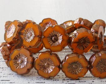 12mm Hibiscus Flower Beads For Jewelry Making Supplies - Orange Opaline With Bronze Center - Choose Amount