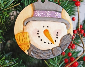 handcarvedhandmadeTwinkles Christmas ornament,Babys First Christmas,woodcarvings for sale, woodcarved,hand carved snowman,Wasatch Woodcarver