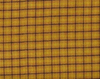 Gold, Black and Red Plaid Yarn Dye 100% Cotton Quilt Fabric for Sale, Kim Diehl's Helping Hands Yarn Dyes Collection, HEG6887Y-30