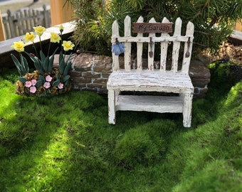 Mini Picket Fence Potting Bench, Distressed Wood Look Bench, Fairy Garden Accessory, Miniature Home & Garden Decor