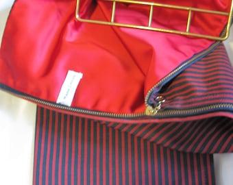 Vintage Mark Cross Red & Blue Striped Necktie Caddy Luxury Zipper Case