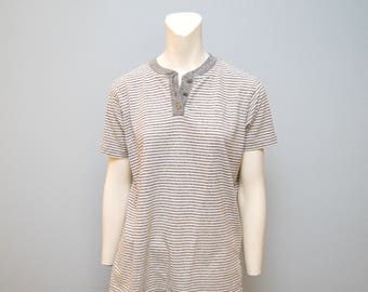 Vintage Gray and White Striped T-Shirt Shirt Top Tee Blouse - Women's Basic - Causal Retro with Buttons Short Sleeved