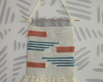 Wall Weaving | Woven Wall Art | Woven Wall Hanging | Wall Tapestry | Teal, Orange, Stripes