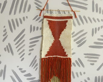 Wall Weaving | Woven Wall Art | Woven Wall Hanging | Wall Tapestry | Orange Rust Hourglass