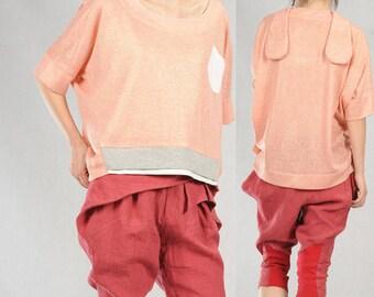 cotton linen T-shirt bat sleeve