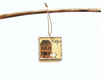 Hope ornament, primitive art, clip art ornament, motivational quote, cubicle decoration, Christmas ornament, sheep ornament, salt box house