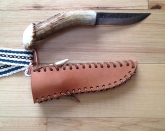 Antler Handled Knife with Sheath