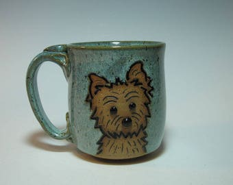 Westie Terrier Dog Puppy Scottish Scottie Mug in Frosty Blue Green - Holds 12+ ounces - In Stock