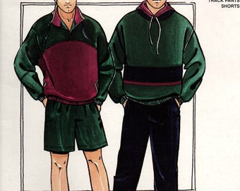 Justknits 96566 Mens Retro Stretch Pants Shorts Pullover Tracksuit Leisurewear 80s Vintage Sewing Pattern Sizes S - XXL UNCUT