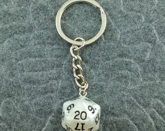 White Pearl D20 Keychain, D20 keychain, Dice Keychain, Dungeons n Dragons Keychain, Pathfinder, Dungeouns and Dragons Keychain