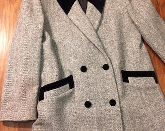 Retro Winter Coat Herringbone Tweed Wool 80s Vintage Noble Fashions L