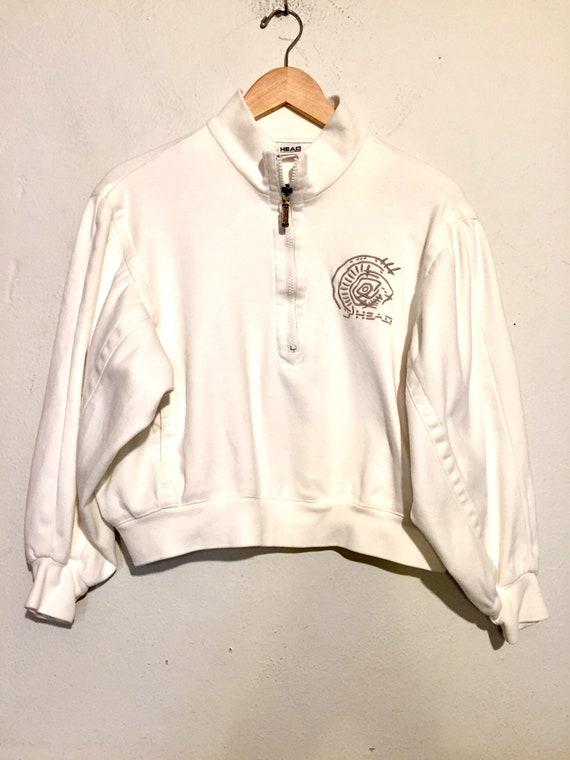 90s Half Zip Cropped Dolman Sleeve Pullover