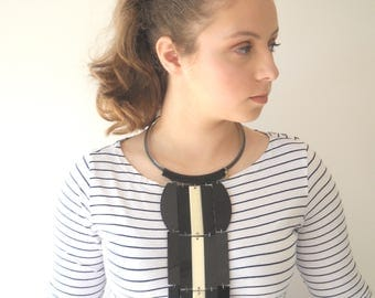 Oversize Necklace, Black Waterfall modern necklace, Lightweight statement necklace fashion jewelry, unique necklace for her