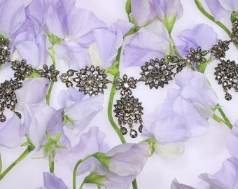 Antique flower diamond necklace 18k rose gold silver chandelier rose cut diamonds Victorian necklace