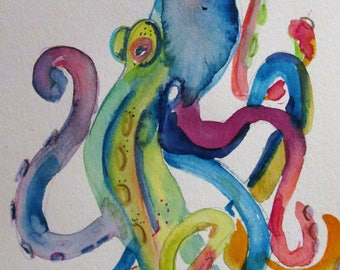 Octopus watercolor painting 9x6 original Art by Delilah