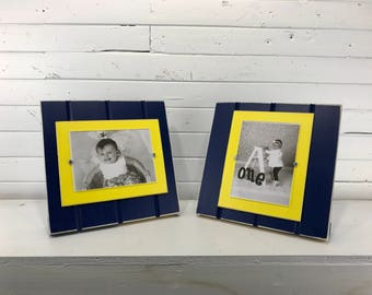 "Blue and yellow table top picture frame holds one 5""x7"" photo. University of Michigan Wolverines UofM"