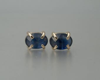 Blue Sapphire and Gold Studs / 5x7mm Rose Cut Oval Blue Sapphire and 14k Yellow Gold Prong Stud Earrings / Ready to Ship