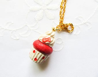 Red Bow Cupcake Necklace / Cupcake Charm Necklace / Food Necklace / Cute Necklace / Polymer Clay / Polka Dots