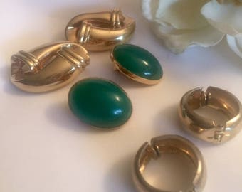 Vintage Clip Earrings 3 Pair 1970s 1980s Green Gold Tone Hoops Wear Craft Supply Repurpose Recycle Destash Wholesale Retail Lot Costume