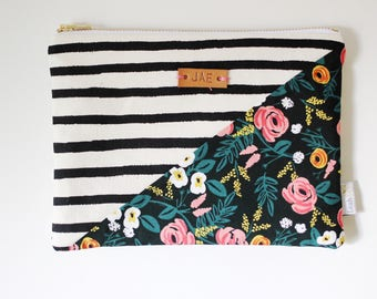 monogrammed clutch, rifle paper co pouch, floral striped zipper pouch, small makeup pouch, personalized bag, leather monogram bag
