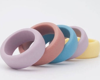 Simple Porcelain Ring Band Pastel Colors  ∙ Guerrero ∙ Simple Ring ∙ Sky Blue, Turquoise, White, Gray ,Purple, Coral Brown , Yellow