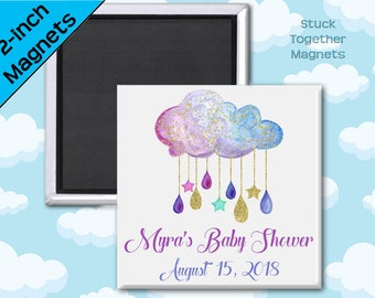 Baby Shower Magnet Favors - Rain Cloud - 2 Inch Square Magnets - Set of 10